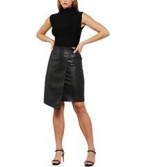bcbgmaxazria faux-leather asymmetrical skirt