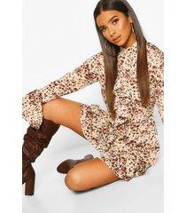 animal print high neck ruffle swing dress, brown