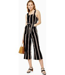 black three stripe pinafore jumpsuit - black