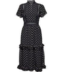 party dress with ruffles and lace panels jurk knielengte zwart scotch & soda