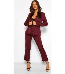getailleerde broek met rechte pijpen en schelpvormige zoom, burgundy