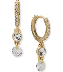 dkny gold-tone double crystal charm huggie hoop earrings