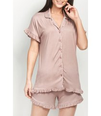 mood pajamas ultra soft little ruffle short set