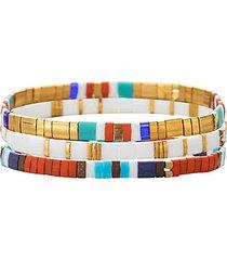 luxe sofia 3-piece goldtone & cubic zirconia stretch bracelet set