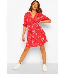 chiffon bloemenprint mini jurk met laagjes, red