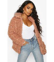 petite faux teddy fur pea coat, rose