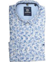 lerros overhemd lichtblauw met print 2021133/440