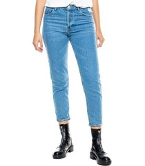 mom fit jeans tiro medio eco recycle color blue