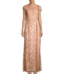 pleat-detailed floral lace gown