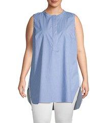 plus pinstriped sleeveless shirt