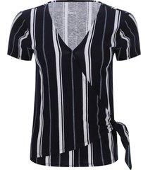 camiseta a rayas verticales color azul, talla 8