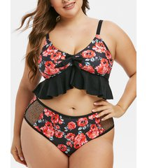 plus size floral print flounce tankini swimwear