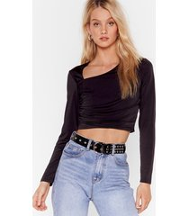 womens fitted crop top with asymmetric neckline - black