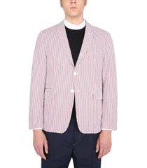thom browne jacket with seersucker stripe pattern