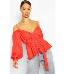 cold shoulder wraptie waist top, tomato