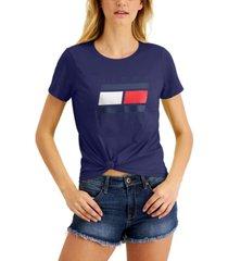 tommy hilfiger sport logo knot-front t-shirt