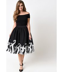 women vintage high waist printed octopus a-line pleated skirt lady swing skirts