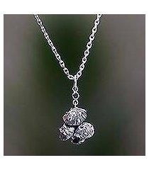 garnet pendant necklace, 'forest mushroom' (indonesia)