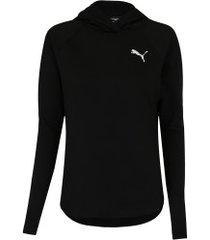 blusão com capuz puma active - feminino - preto