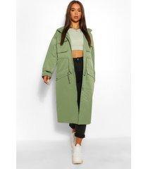 utility pocket hooded trench coat, khaki