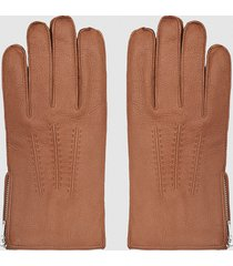 reiss iowa - leather zip detail gloves in tan, mens, size l
