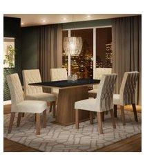 conjunto sala de jantar madesa daniela mesa tampo de madeira com 6 cadeiras marrom