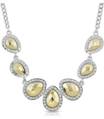 2028 silver-tone and gold-tone teardrop collar necklace
