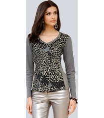 shirt alba moda zwart::taupe::goudkleur