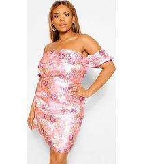 plus jacquard mini jurk met open schouders, pink