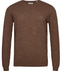 modern basic stickad tröja m. rund krage brun tom tailor