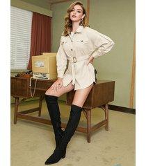 yoins beige self-tie diseño classic trench coat
