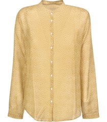 massimo alba band collar printed shirt
