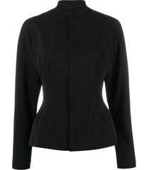 jean paul gaultier pre-owned 1990's high collar fitted jacket - black