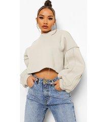 oversized sweater met naaddetail, stone