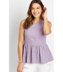 maurices womens eyelet solid babydoll tank top purple