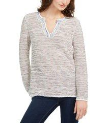 style & co petite split-neck melange sweater, created for macy's