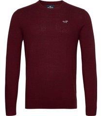 hco. guys sweaters stickad tröja m. rund krage röd hollister