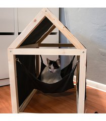 domek z szarym lnem, legowisko, hamak dla kota.