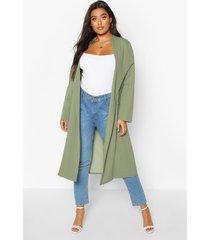 plus pocket thick duster coat, khaki
