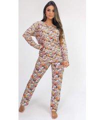 pijama de manga longa raglan estampa digital (cartoon dogs) - ref: k2805 - kanui