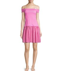 dimitra gingham off-the-shoulder mini cover-up