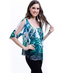 blusa 101 resort wear tunica crepe ombro a ombro estampada folhas verde branco