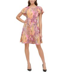 tommy hilfiger petite paisley-print double-twill fit & flare dress