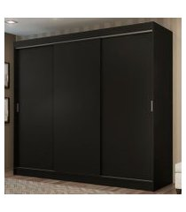 guarda-roupa casal madesa kansas 3 portas de correr 3 gavetas preto cor:preto