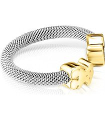 anillo mesh de acero y oro tous