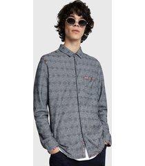 camisa desigual slim isaac gris - calce slim fit