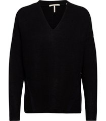 fuzzy v-neck knit with side slits gebreide trui zwart scotch & soda