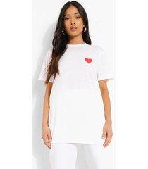 petite hartjes t-shirt met borstopdruk, white