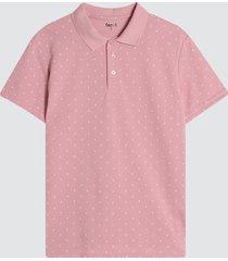 polo hombre miniprint triangulos color rosado, talla l