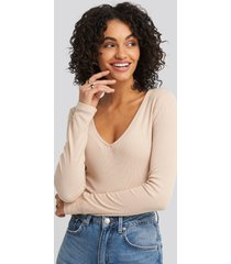 na-kd basic deep v-neck ribbed body - beige